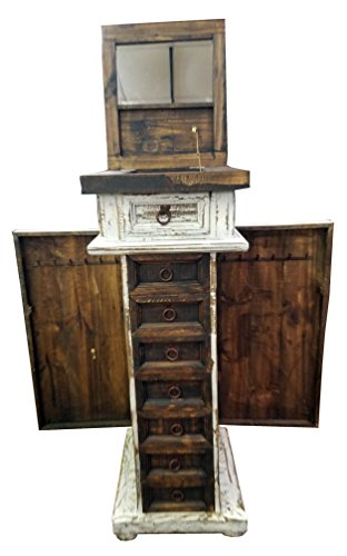 Country Solid Pine Armoire - Rustic Western Jewelry Armoires Solid Wood Comes Already Assembled 7 Drawers 2 Side Doors & Foldable Mirror Top (White Scrape)