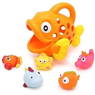 Baby Bath Toys for Toddlers Boys Girls, Best Bathtub Shower Toys Birthday Gift Set 3 6 12 Months - Infant Bathtime Fun Tub Water Toys Age 1 2 3 Years Old (Fish, Orange)