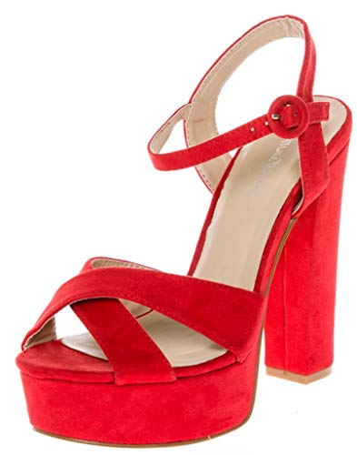 CALICO KIKI CAELA-CK01 Women's Buckle Ankle Strap Open Toe Chunky High Heel Platform Dress Sandals (6.5 US Red SU)