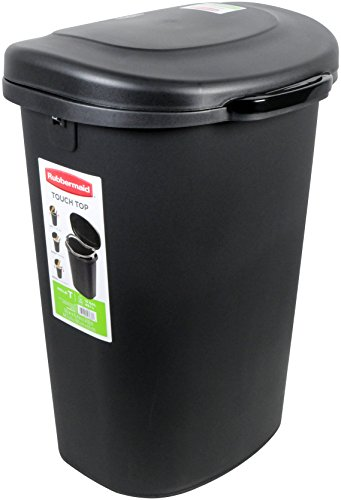 Rubbermaid Spring-Top Wastebasket, 53-Quart, 13 1/4 Gallon, Black(FG233900WHT)