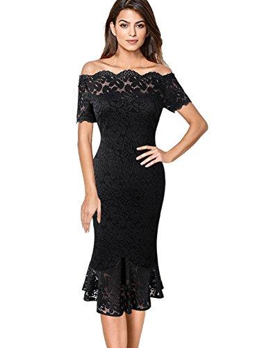 (VFSHOW Women Elegant Off Shoulder Floral Lace Cocktail Party Mermaid Midi Mid-Calf Dress 980 BLK XS)