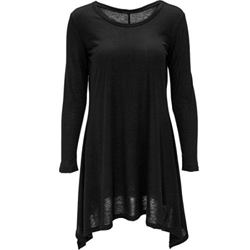 Blusen, Switchali Damen Unregelmäßiges Pullover-Hemd Art und Weise lange Hülsenbluse (M, Schwarz)