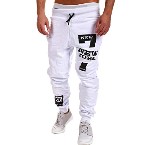 vermers Mens Leisure Pants - Mens Fashion Trousers Casual Letter Printed Sweatpants(3XL, White)