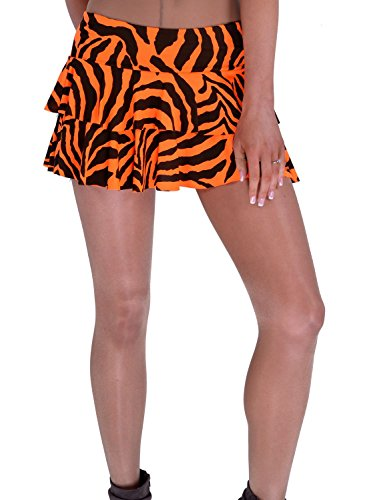 Women Ladies Stretch Wait Neon Zebra Print Rara Mini - 0000 Zebra