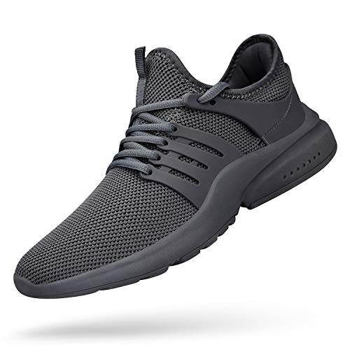 QANSI Mens Running Shoes Lightweight Comfortable Fashion Sneakers Breathable Sports Workout Shoes Gray 10