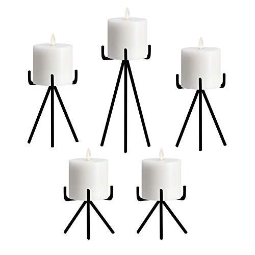 smtyle Candle Holders Set of 5 Candelabra Centerpieces Plate for Tables or Fireplace with Black Iron Ideal for Pillar LED ()