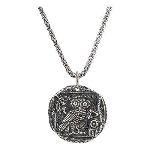 Ancient greek coin necklace with athenas owl in sterling silver on a home jewelry greek mozeypictures Images