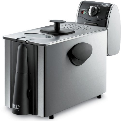 Delonghi Stainless Steel Deep Fryer, Large 3 Lb Food Capacity, with Brushed Stainless Steel Housing, and Adjustable Temperature and Indicator Light, Features