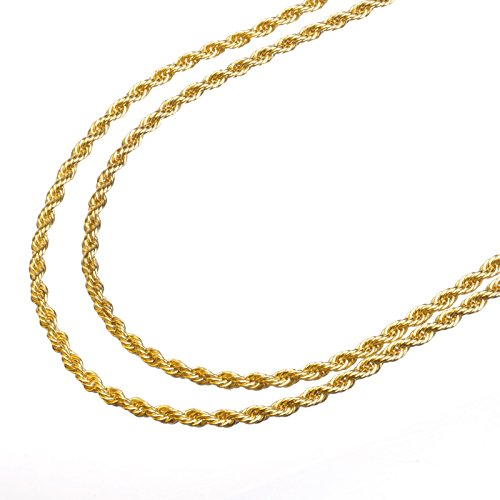 14K Yellow Gold Plated 2.5 mm Rope Double Chain Necklace 22
