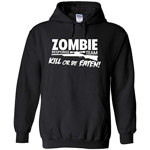Zombie Response Team Kill Or Be Eaten White Logo Hoodie Funny Sarcastic Jumper Pullover Hooded Fleece Sweatshirt Adult Humor Joke Hood