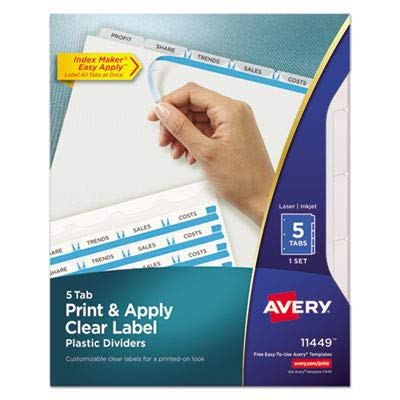 Avery Consumer Products Products - Index Label Dividers, Plastic, 5-Tab, 3HP Punched, Clear - Sold as 1 ST - Make your documents stand out. Translucent plastic dividers provide a modern design for creating professional-looking documents. Clear tab labels virtually disappear when applied to the divider tabs. Format the clear tab labels with your existing software and print using your laser or inkjet printer. Quick, easy-to-create dividers look professionally printed. Ideal for larger projects req
