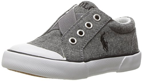 Polo Ralph Lauren Kids Boys' Greggner Slip-on, Grey, 8 M US - On Ralph Lauren Slip