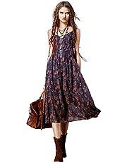 Artka Women's Dark Boho Floral Spaghetti Strap Maxi Casual Dress