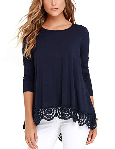 RAGEMALL Women's Tops Long Sleeve Lace Trim O-Neck A-Line Tunic Blouse Tops for Women Navy Blue L