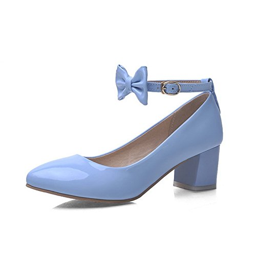 AmoonyFashion Womens Pointed Closed Toe Buckle Patent Leather Solid Kitten Heels Pumps-Shoes Blue eoYXGpBk6a