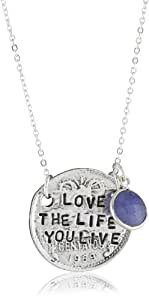 """Alisa Michelle """"Words To Live By"""" Blue Onyx Gem Sterling Silver Plated Double Sided Love The Life Coin Charm Necklace"""