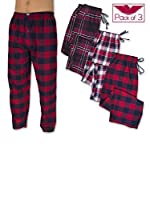 American Active Men's 3 Pack Cotton Flannel Lounge Pajama Sleep Pants