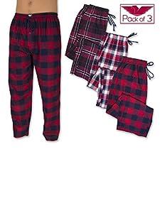 American Active Men's 3 Pack Cotton Flannel Lounge Pajama Sleep Pants