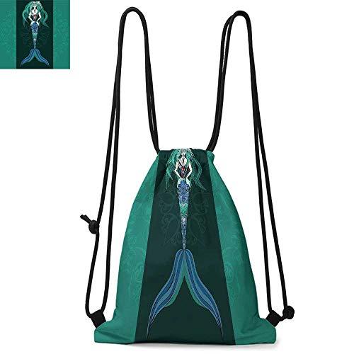 Mermaid Easy to carry drawstring backpac Hand Drawn Mermaid on Ornate Mandala Backdrop Fantasy Design Durable Drawstring Backpack W13.8 x L17.7 Inch Jade Green Dark Green Violet -