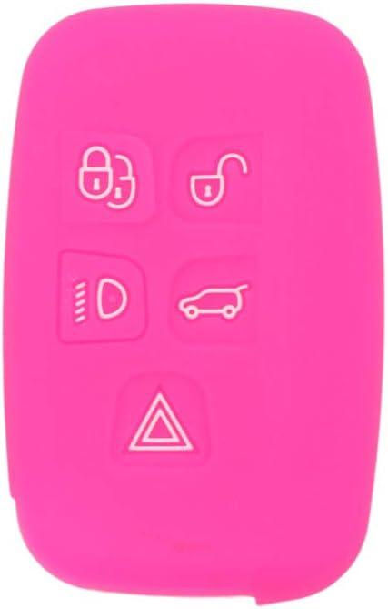 SEGADEN Silicone Cover Protector Case Holder Skin Jacket Compatible with LAND ROVER LR4 Range Rover 5 Button Smart Remote Key Fob CV4982 Rose