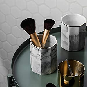 2 Pack Ceramic Pen Holder Stand,Cup for Desk Marble Pattern Makeup Brush Holder for Girls Women,Desk Accessories Holder…