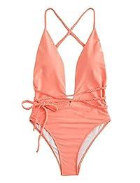 SOLY HUX Traje de baño de una Pieza, Sensual, con cinturón, Espalda Baja, Acolchado, para Mujer, Anaranjado, S