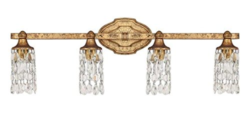Antique Gold 4 Light 29.5in. Wide Bathroom Vanity Light from the Blakely Collection