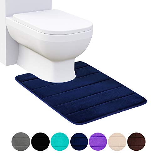 Buganda Memory Foam Contour Toilet Bath Rug, U-Shaped Non Slip Absorbent Thick Soft Washable Bathroom Rugs, Floor Carpet Bath Mat for Bathroom Sink Toilet (20