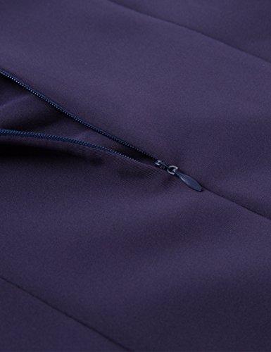 Cmz2005 Femmes Coton Manches Pétale Solides Droites Mini Robe De Soirée Formelle 71563 Bleu Marine