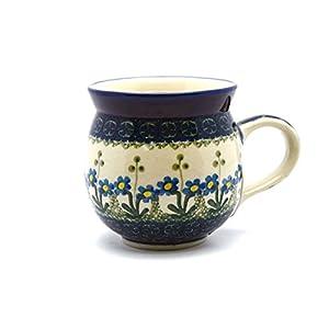 Polish Pottery Mug–11Oz. Bubble–Blue Spring Daisy by Polish Pottery Gallery