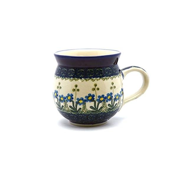 Polish Pottery 16 Oz. Bubble Mug – Blue Spring Daisy Ceramika Artystyczna