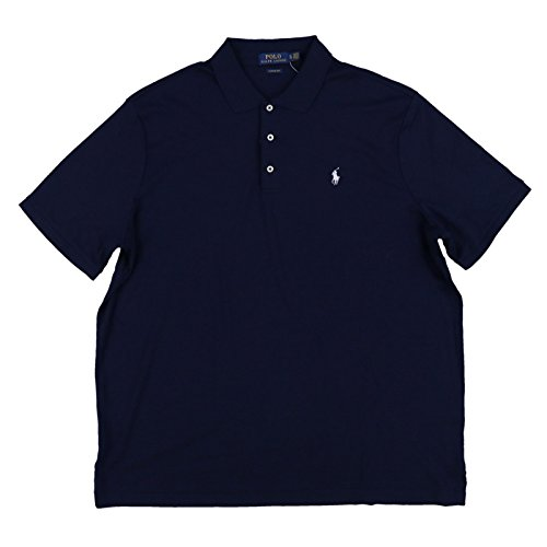 (Polo Ralph Lauren Mens 3 Button Interlock Polo Shirt (Large, Navy Blue))