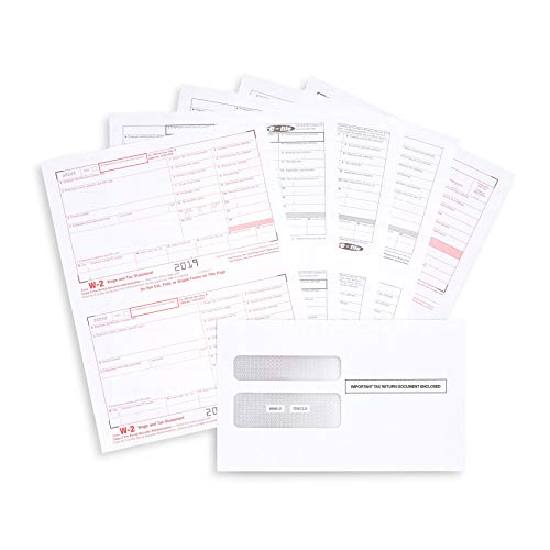 W2 Forms 2019, 4 Part Tax Forms, 25 Employee Kit of Laser Forms Designed for QuickBooks and Accounting Software, 25 Self Seal Envelopes Included