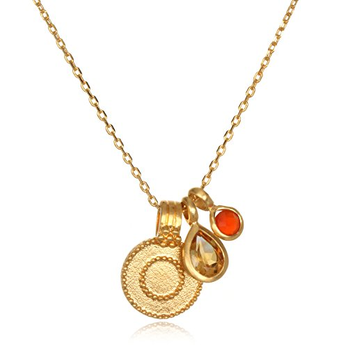 - Satya Jewelry Women's Citrine & Carnelian Gold Sun Pendant Necklace 18-Inch, Orange, One Size