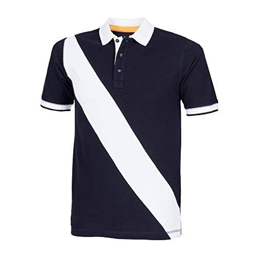 (Front Row Mens Diagonal Stripe House Slim Fit Polo Shirt (S) (Navy/)