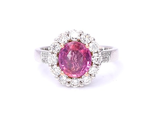 (Natural Padparadscha Orange Pink Sapphire and Diamonds Statement Cocktail Engagement Ring Lotus Color 2.73 cttw 14K White and Rose Gold New Size 7)