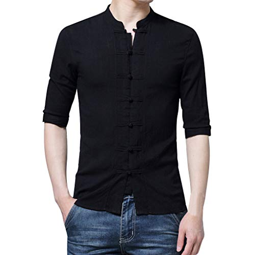 Men's Summer Solid Blouse Vintage Style Buckle Half Sleeve T-Shirt Stand Collar Cotton Bamboo FibeTop (Black, -
