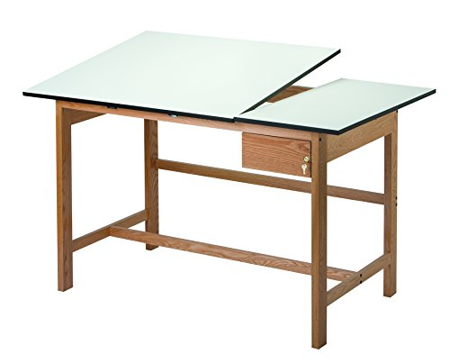 Alvin WSB60 Titan II Split Top Solid Oak White Top Drafting Table