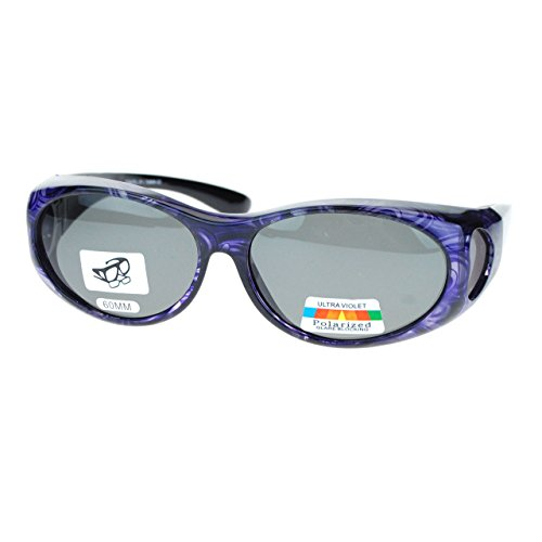 Polarized Sunglasses Fit Over Glasses for Small Glasses Oval Frame Purple Print