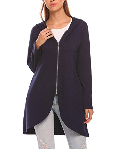 Zeagoo Womens Casual Light Oversized Zip Hoodie Sweatshirt Jacket,Navy (Terry Cotton Hoodie Jacket)