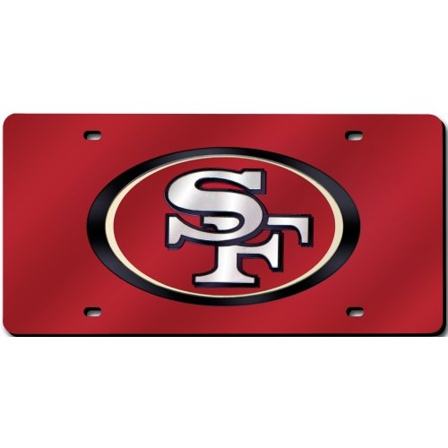 (NFL San Francisco 49ers Laser Inlaid Metal License Plate Tag)