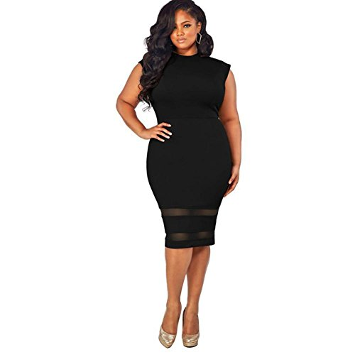 Tenworld Women Plus Size Design Solid Sleeveless Gauze Splice Party Mini Dress
