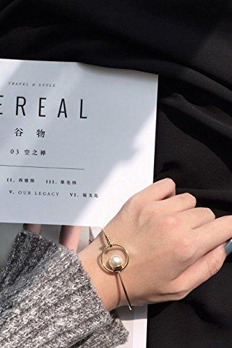 Plated Station Catwalk Models Woman Gift Circle Geometric Design Pearl Bracelet Bangle Women Girls 02 ()