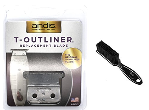 (Andis T-Outliner Replacement Beard/Hair Trimmer Blade, Silver (04521) with The Classic Barber Blade Brush)