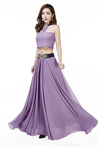 Sinreefsy Women Summer Chiffon High Waist Pleated Big Hem Full/Ankle Length Beach Maxi Skirt(Large/Orchid)