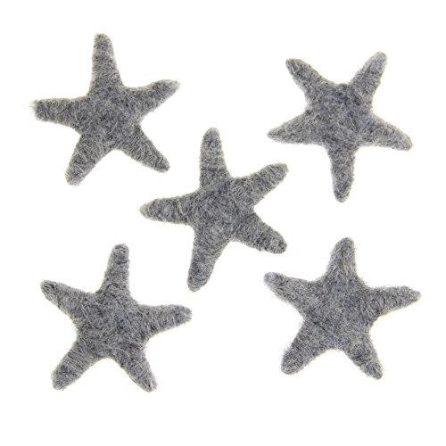 Zasy 100% Wool Needle Felt Stars Handmade 70mm70mm Starfish for Home Party Christmas Garland Accessories Kids Girls Bedroom Decoration (Grey)