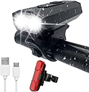 USB Rechargeable Bike Light Set, Front and Rear Super Bright Bicycle Light,IPX5 Waterproof 6 Mode Bike Lights,