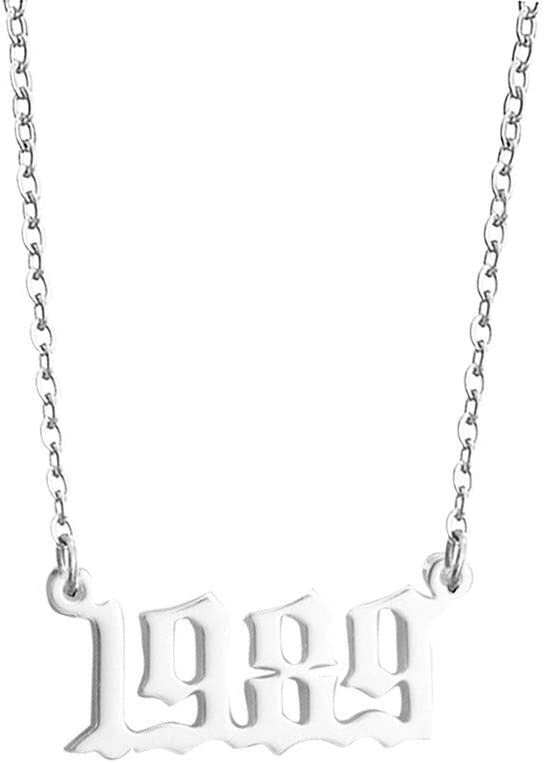 1980-1989 Initial Year Number Pendant Necklace Necklace Wedding Anniversary Necklace Chain for Women Girls Stainless Steel Birth Year Necklace J1