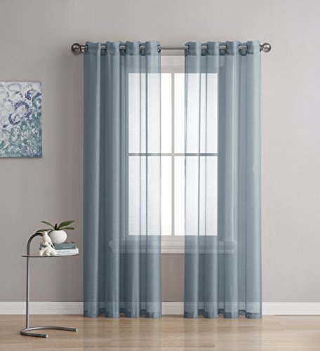 Best Sheer Grommet Window Curtains Panels for Bedroom, Living Room, Kitchen, Kid's Room and Outdoors Durable Polyester-2 Pieces (54x63 inch, Dusty Blue) (Lisette Sheer Panels)