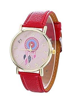 Toyonee Moda Mujer Damas Vestido Casual Reloj Dreamcatcher patrón PU Cuero Banda Cuarzo Relojes de Pulsera (C): Amazon.es: Deportes y aire libre